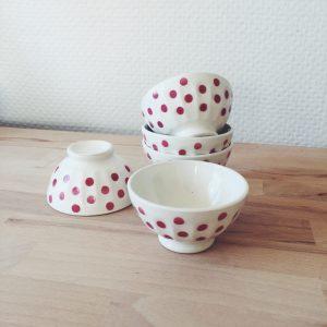 bol à pois vintage vaisselle