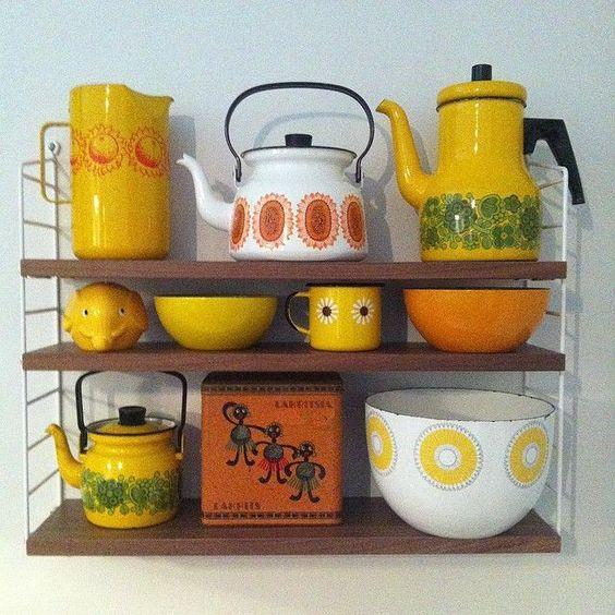 vaisselle 70's retro vintage